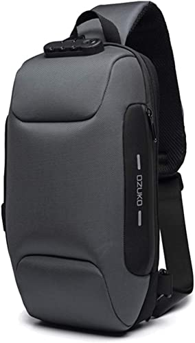 OZUKO Casual Sling Bag, Anti-Vol Sling Épaule Cross Body Bag Sacs À Bandoulière Casual Sacs Poitrine avec Port de Cha...
