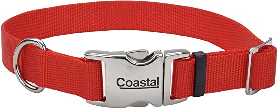 Coastal Pet Products Nylon Adjustable Dog Collar with Metal Buckle, 1-Inch, Red