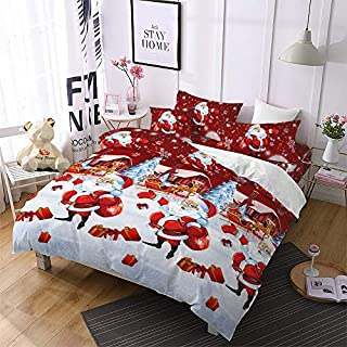Christmas Bedding 3D Duvet Cover King Size,Cartoon Santa Claus Home/Bedroom Gifts Decor for Kids,Purple