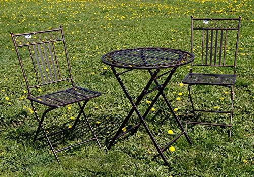 """Exklusive Sitzgruppe """"Eliza"""", Gartentisch mit 2 Stühlen, Gartengarnitur, sehr stabile Metallausführung, klappbar Bild 2*"""