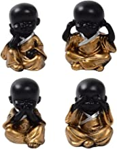 Baoblaze 4Pcs Buddha Statue Monk Figurine Tea Pet Ornaments