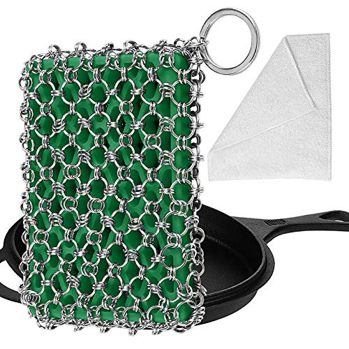 Herda Cast Iron Skillet Cleaner,Upgraded Chainmail Scrubber Set Silicone Insert with Bamboo Fiber Cloth,316 Stainless Steel 3D Chain Metal Scrubber Scraper for Castiron Pan,Griddle,Baking Pan (Green)
