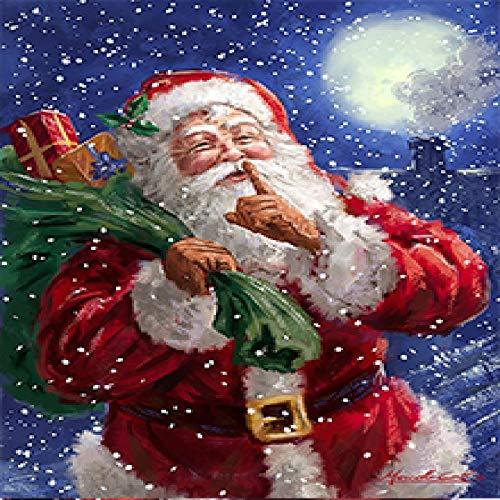 Geiqianjiumai Cuadro Lienzo Pintura Moderna decoración del hogar Pared Arte impresión Navidad y Santa Cartel Sala sin Marco