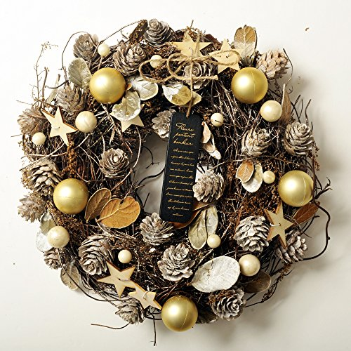 クリスマスリース 選べる12種類 ナチュラルテイストのアートリース (I,タイガーシルバー)