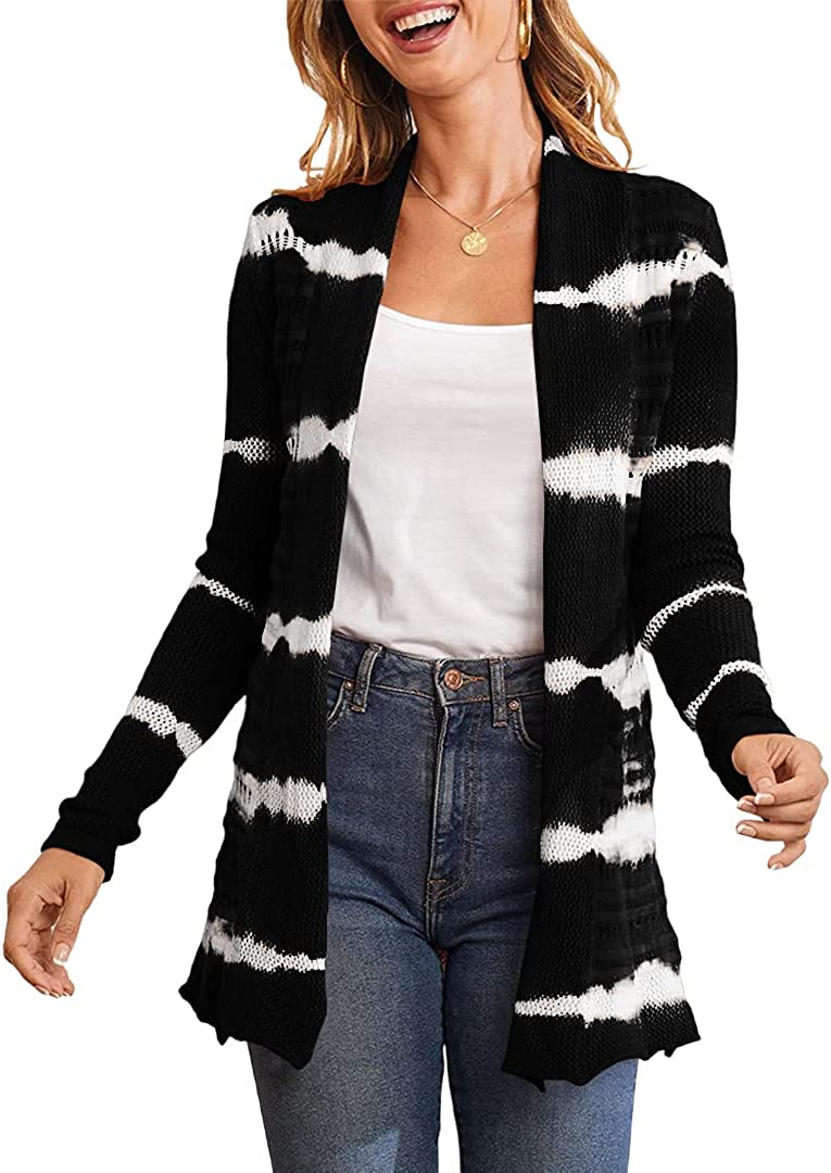 MIRACMODA Women Fashion Stripe Tie Dye Knit Sweaters Autumn Casual Long Sleeve Open Front Cardigan