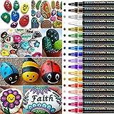 UBRU Acrylstifte für Stifte, 18 Farben Acrylstifte Marker Stifte, Wasserfeste Stifte, Acrylic Painter für Glasmalerei, Garten, Papier, Metall und DIY Fotoalbum Gästebuch (mit 5 Marker-Schwamm-Kopf)