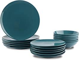 Amazon Basics 18-Piece Stoneware Dinnerware Set - Deep Teal, Service for 6