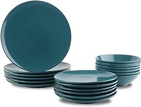AmazonBasics 18-Piece Stoneware Dinnerware Set - Deep Teal, Service for 6