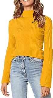 LEKODE Sweater Women's Turtleneck Solid Long Sleeve Knit