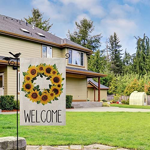 AVOIN Welcome Sunflower Wreath Garden Flag Vertical Double Sided, Summer Fall Flag Yard Outdoor Decoration 12.5 x 18 Inch