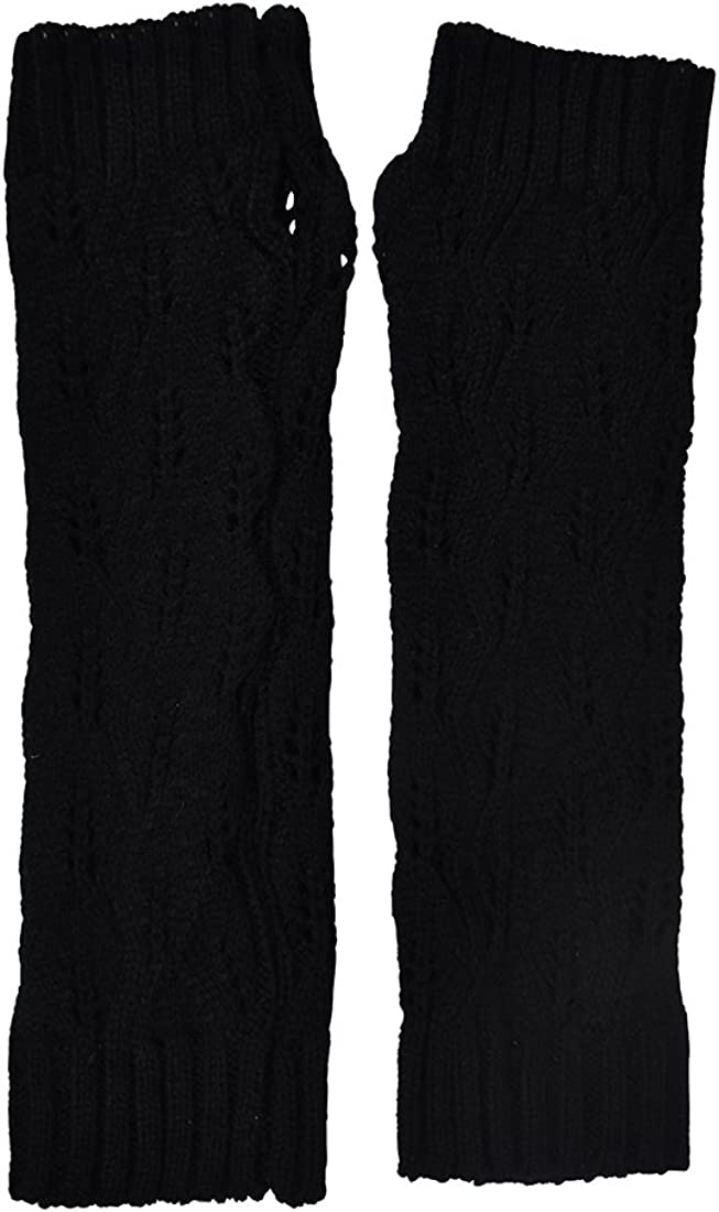 Crochet Knit Arm Warmers for Women Long Fingerless Gloves with Thumbhole