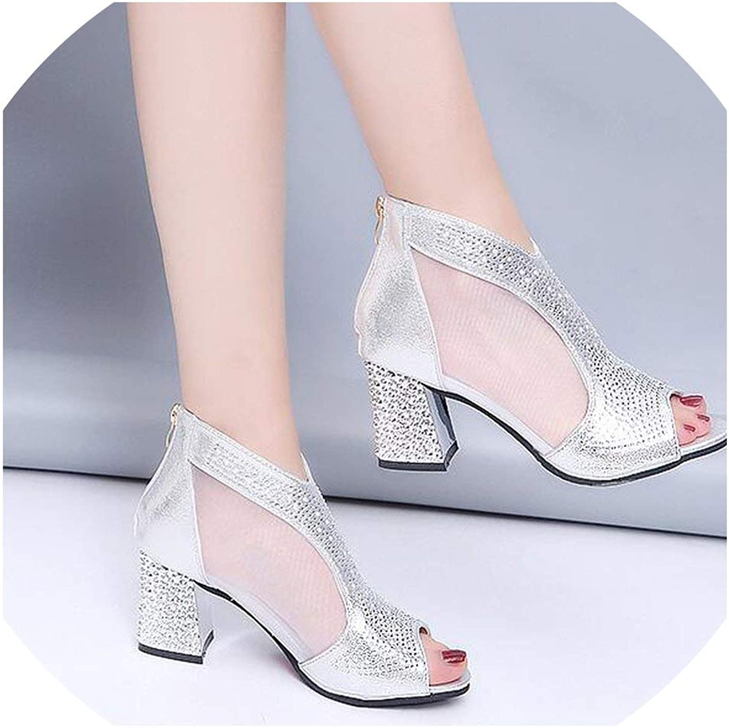 Women Sandals High Heels Diamond Square Heel Women shoes Wedding shoes Leather Sandalia