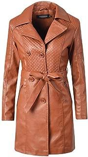 FYXKGLa Women's Long Trench Coat Long Lapels Leather Jacket Slim Leather Jacket Long Lapels Jacket (Color : Yellow, Size : S)