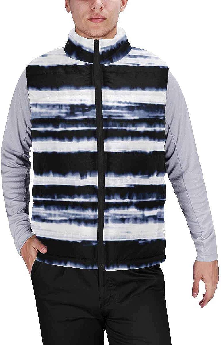 InterestPrint Men's Outdoor Casual Stand Collar Sleeveless Jacket Snowman Holding a Broom
