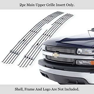 APS Compatible with 2007-2013 Chevy Silverado 1500 Main Upper Stainless Steel Polished Chrome 8x6 Horizontal Billet Grille Insert C65766S