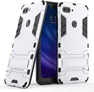 Case for Xiaomi Mi 8 Lite (6.26 inch) 2 in 1 Shockproof with Kickstand Feature Hybrid Dual Layer Armor Defender Protective Cover (Silver)