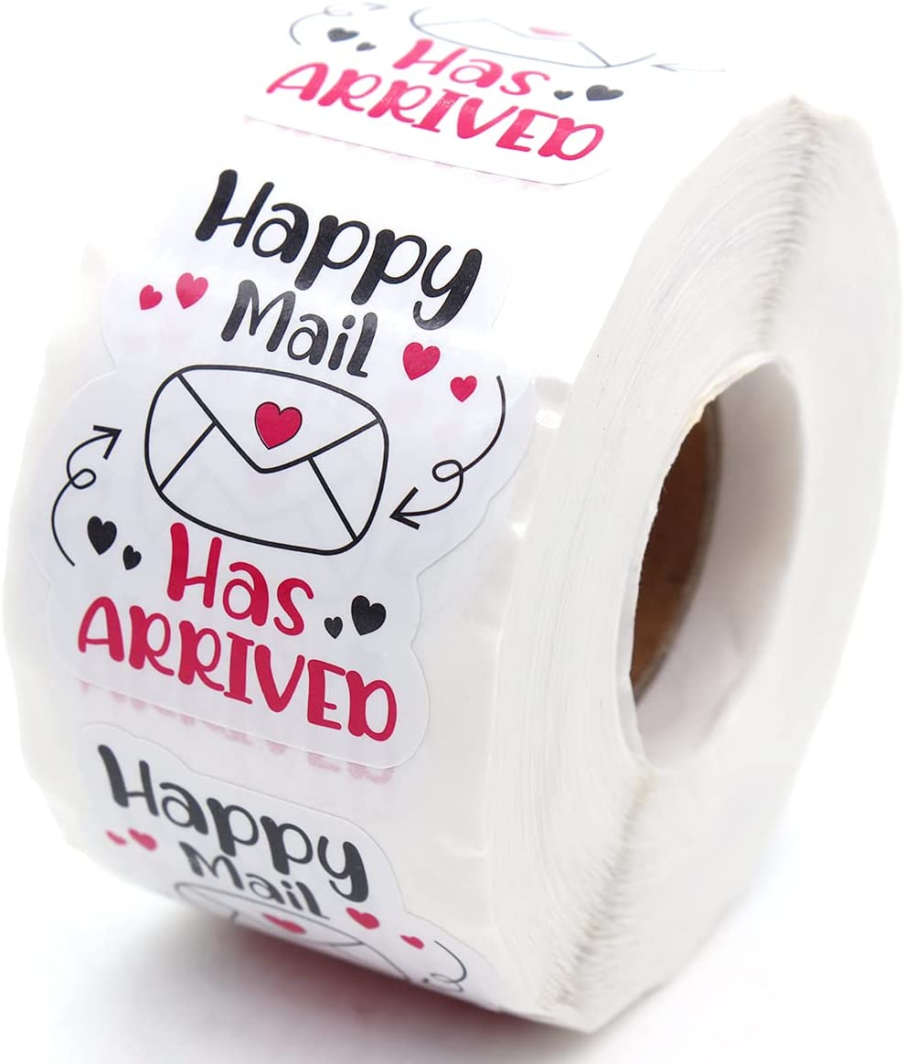 """Littlefa 1.5"""" Happy Mail Has Arrived with Cute Envelope Design Stickers,Mail Stickers,Small Business Stickers, Envelopes Stickers, Gift Bags Packaging 500 PCS"""