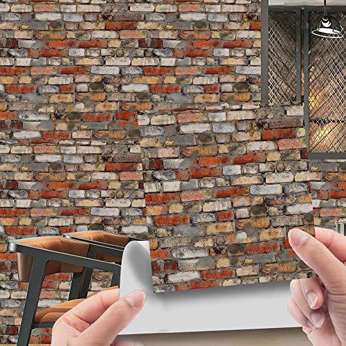 Imitación de ladrillo patrón de etiqueta de la pared, PVC murales de pared Azulejos de pared, decoración autoadhesiva desmontable Casa cocina baño 10 cm * 10 cm 20 piezas JHXC068