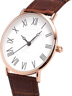 Wrist Watch Mens Ultra-Thin Minimalist SIBOSUN Quartz Leather Strap Classic Roman Numerals Anolog