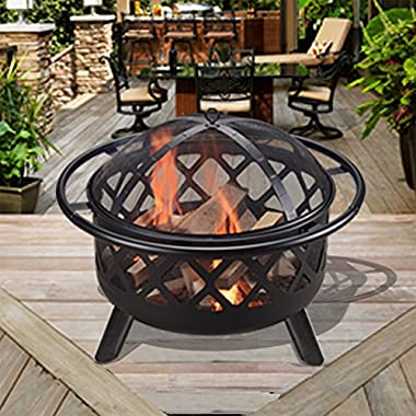 Peaktop CU296 Outdoor Round Steel Wood Burning Fire Pit 30-Inch - Black