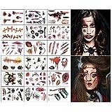 Disfraces de Halloween Tatuajes de zombis, Maquillaje para decoraciones de fiesta de Halloween, Body Scar Stickers para Cosplay 18 hojas (Tatuajes de zombis)