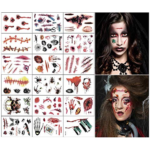 Halloween Schminke,18 Blatt Halloween Kostüm Damen Kinder, Halloween Deko Zombies Vampir Cosplay Halloween Party Accessoires Prop Dekorationen Aufkleber (Zombie-Tattoos)