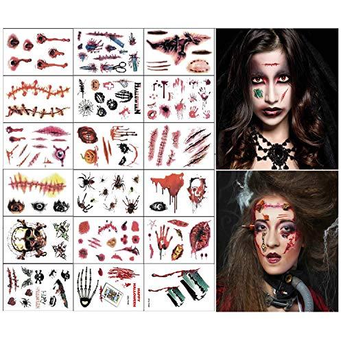 Disfraces de Halloween Tatuajes de zombis, Maquillaje para decoraciones de fiesta de Halloween, Body Scar Stickers para...