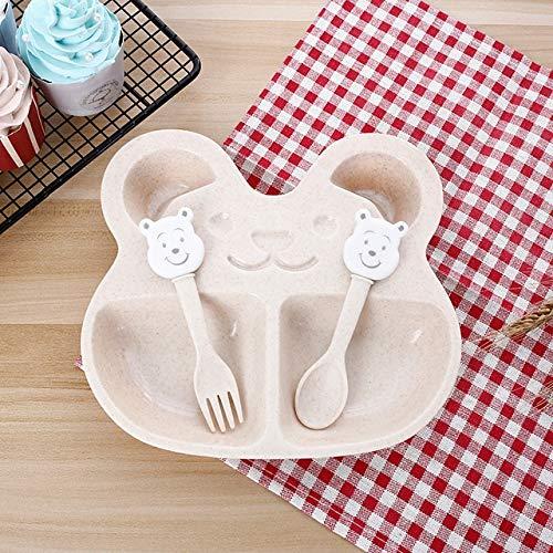 Vajilla para niños 3 PS/formación bebé de la vajilla tazón set set Tazón platos de los niños eateing tazón de alimentación del bebé comedor placas conjuntos (Color : Beige)