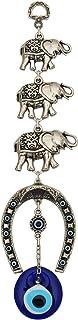 Erbulus Turkish Silver Horse Shoe Blue Evil Eye Wall Hanging Ornament with Elephant - Turkish Nazar Bead Amulet – Home Pro...