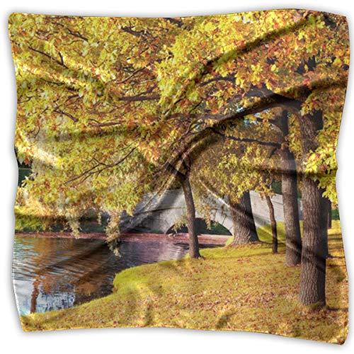 IMERIOi Gelb Blätter Bäume Park gedruckt Seidenschal Quadrat kleines Taschentuch Taschentuch Trend 6961