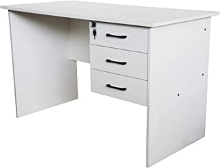 Mahmayi Solama MP1-1260 Office Desk with Fixed Lockable Drawers - Premium White