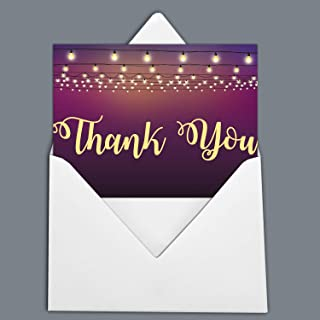 Darling Souvenir Purple Party Lights Thank You Card Baby Shower Thank You Notes Folded Blank Greeting Card with White Envelopes - 100 Pcs