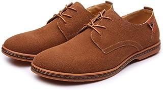 革靴 メンズ ローファー カジュアルシューズ レースアップ オックスフォードシューズ マイクロファイバー レザー ラージサイズ (Color : 褐色, サイズ : CN24.5)