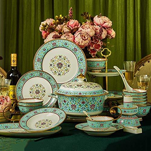 ZJZ Juego de vajilla de cerámica, 50 Piezas de Platos y Cuencos de Porcelana China para reuniones Familiares Juego de Cena de Esmalte Plato de Frutas