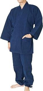 作務衣 日本製-厚地刺し子織作務衣 S~3L