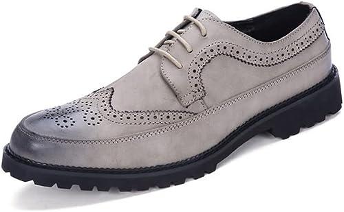 JIALUN-Schuhe Herrenmode Oxford Flache Ferse Schnürschuhe PU-Leder Freizeitwerkzeugschuhe (Farbe   Grau, Größe   43 EU)