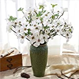 YILIYAJIA 4PCS Artificial Dogwood Blossom Silk Flowers Bridal Flowers Bouquets Fake Cornus Bush for Wedding Home Office Decoration(White)
