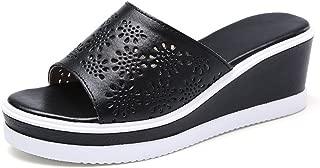 Wedges Flip Flops Sandals for Women,Summer Hollow Flat Platform Beach Slides Shoes