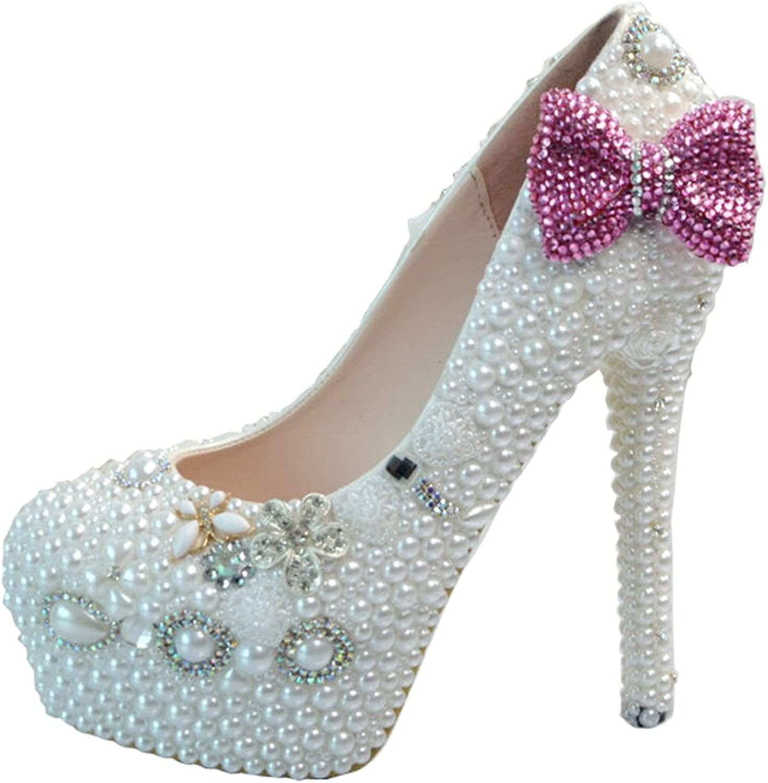 TDA Women's Wide Fit Bridal Bow-Knot Wedding Stiletto Pumps