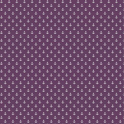 babrause ® Baumwollstoff Anker Mini Violett Webware Meterware Popeline OEKOTEX 150cm breit - Ab 0,5 Meter