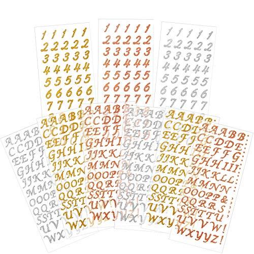 9 Hojas Pegatinas de Número Brillante Pegatina Alfabeto de Oro Rosa Etiquetas Autoadhesivas de Estampado en Caliente de Letras DIY Pegatinas con Purpurina de Tarjetas de Felicitación
