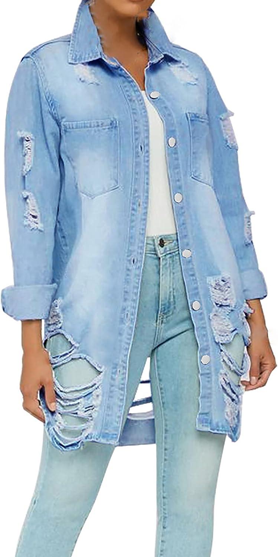Aritone Fashion Jacket Coat Women's Casual Denim Jacket Loose Long Sleeve Autumn Coat Blouse
