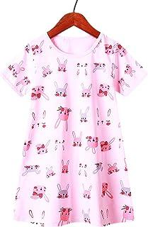 فساتين قصيرة الأكمام من القطن للفتيات الصغيرات مطبوع عليها رسوم متحركة ملابس ناعمة أنيقة 4-5T أرنب وردي