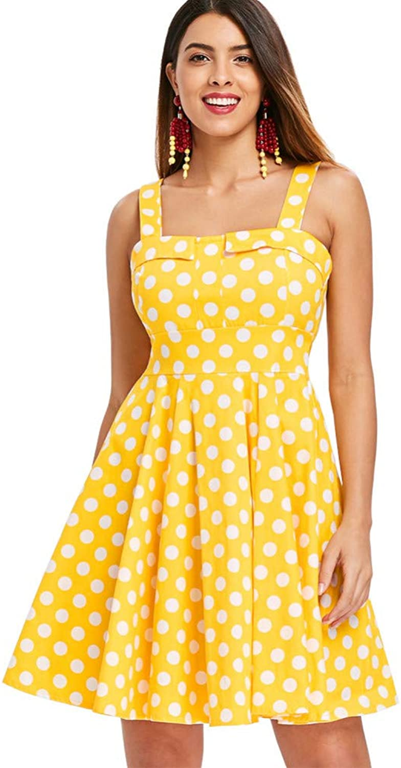 WDBXN Polka Dot Print Vintage Dress Retro 50S Robe Casual A-Line Women Dress Elegant Pleated Party Dresses