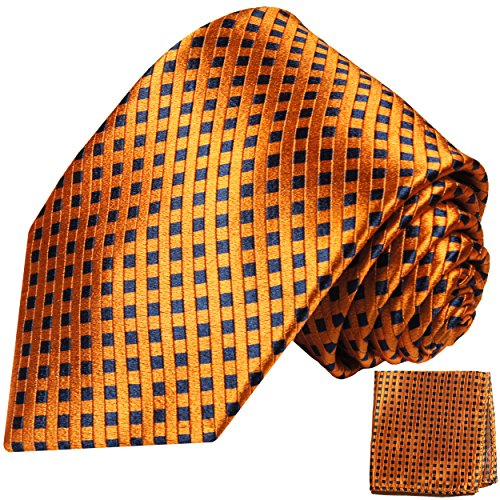 Cravate homme bleu orange à damier ensemble de cravate 2 Pièces (100% Soie Cravate + Mouchoir)