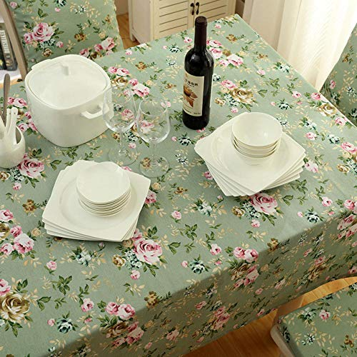 Dthlay tafelkleed, tuintafel, landelijk, groen, print-zeildoek-uitgangsweefselservet met bloemen