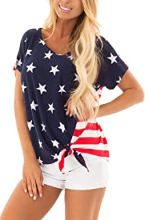 Women's July 4th American Flag Short Sleeve Tie Front T Shirt