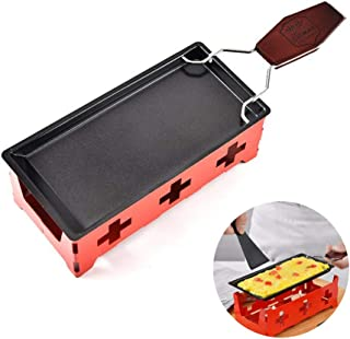 ROARINGWILD Cheese Oven Stainless Steel Non-Stick Cheese Grill Pan Camping Portable Oven (Red)