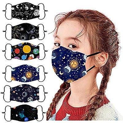 Belcol 5Pcs Kids Reusable Face Bandanas Breathable Seamless Cute Print Cotton Children (Kids 6Pcs, Universe Pattern) by Belcol
