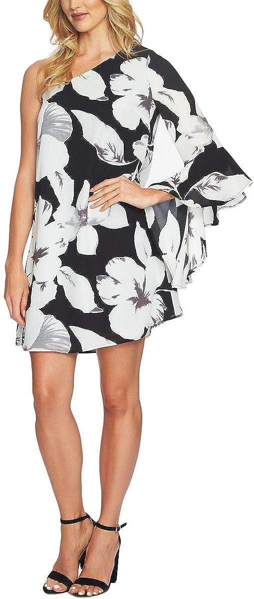 CECE Women's Floral-print One-shoulder Party Shift Dress